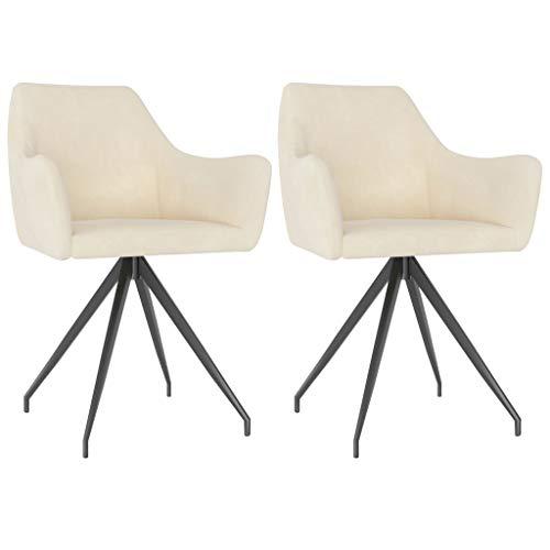 vidaXL 2X Esszimmerstuhl mit Armlehne Küchenstuhl Polsterstuhl Wohnzimmerstuhl Stuhl Set Stühle Essstuhl Esszimmerstühle Küchenstühle Creme Samt