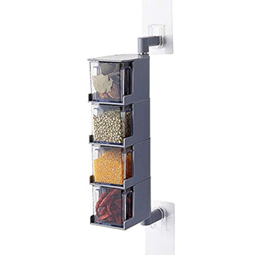 Meshin Multi-tier 360 Degree Rotating Wall Mount Spice Rack Seasoning Storage Box Jars Organizer Condiments Container Kitchen Spice Pots Container