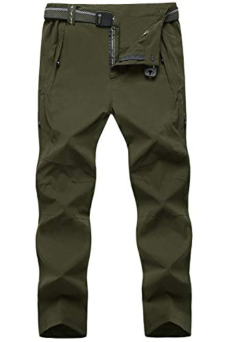 TBMPOY Men's Lightweight Pants Quick Dry Hiking Mountain Fishing Cargo Outdoor Pants(03 Thin ArmyGreen,us L)