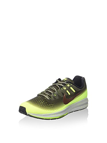 NIKE Men's Air Zoom Structure 20 Shield, Cargo Khaki/Mtlc Red Bronze-Volt-Black, 11 M US