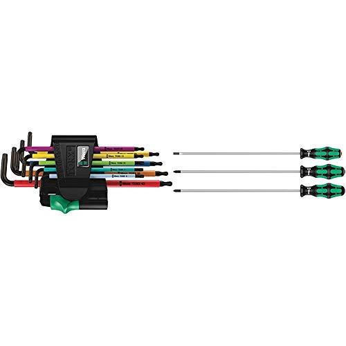 Wera 967SPKL/9BO Multicolour TX-Key Set, TX8 - TX40, 9pc, 05073599001 & 335/350/355/3 Kraftform Plus Extra-Long Screwdriver Set, PH/PZ/SL, 3pc, 05347735002