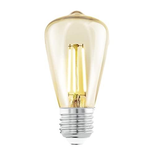 EGLO LED E27 Lampe, Amber Vintage Glühbirne, LED Lampe für Retro Beleuchtung, 3,5 Watt (entspricht 22 Watt), 220 Lumen, E27 LED warmweiß, 2200 Kelvin, LED Leuchtmittel, Edison Glühbirne ST48, Ø 4,8 cm
