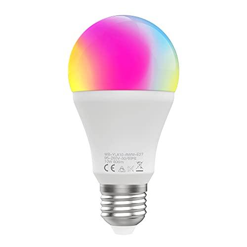 Tuya - Bombilla WiFi inteligente E27 10 W RGB bola LED regulable lámpara de control de voz