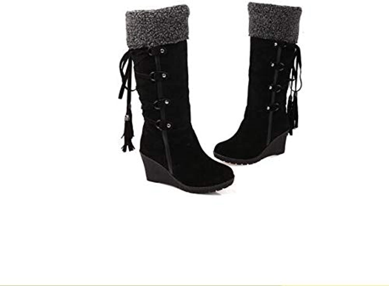 Top Shishang Winter Female Wedge Artificial Fur high Boots Snow Boots Warm Lined lace Martin Boots