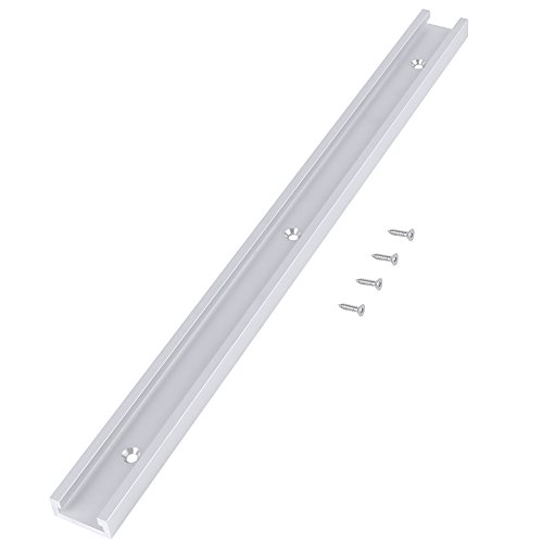 Ruspela 400mm Aluminum Alloy T- Track T- Slot Track with Self- taping Screws for Woodworking Silver