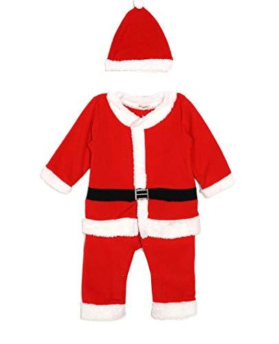 HIUGHJ Niños niñas Navidad Nuevo bebé Mameluco Santa Claus Bebe Forro Polar Mameluco Sombrero Traje Infantil Año Nuevo Ropa, Rojo, 24M