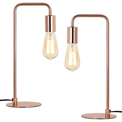 Juego de 2 lámparas de mesa retro industrial de metal para dormitorio, salón, oficina, oro rosado