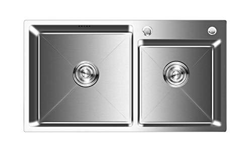 Auralum Doppelbecken Küchenspüle 78×43×22cm Edelstahlspüle 2 Becken Einbauspüle mit Bohrungen für Wasserhahn und Seifenspender