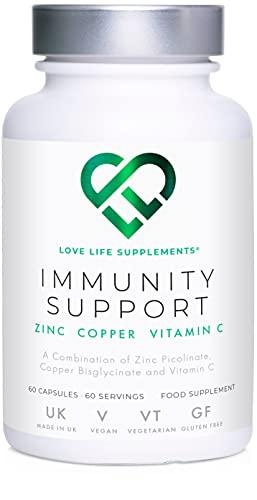 Immunity Support di LLS | 60 Capsule - Fornitura per 60 giorni | Zinco (40 mg), Rame (2 mg), Vitamina C (500 mg) | Love Life Supplements