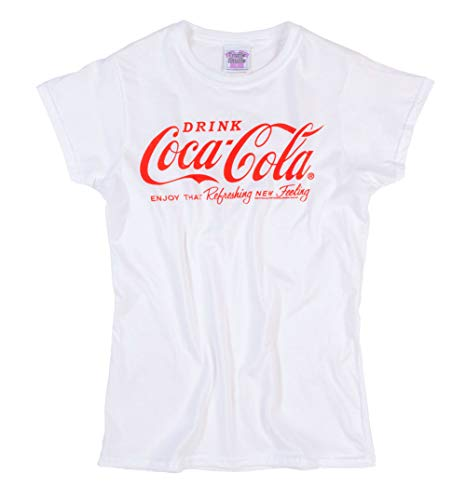 Womens White Drink Coca Cola Logo Fitted T Shirt