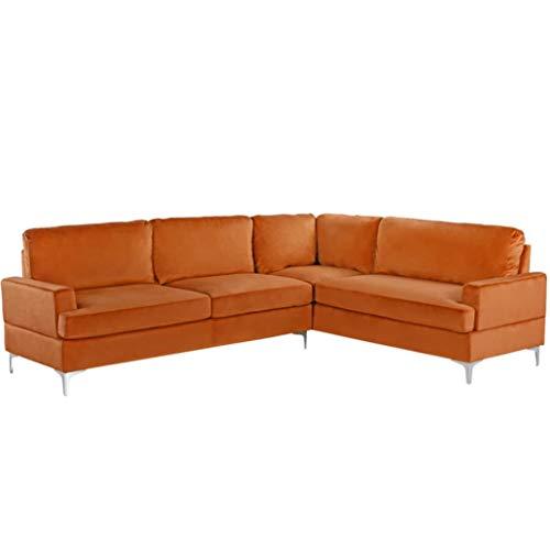 BHDesign Valerie hoekbank, modern, 5-zits, velours stof, oranje