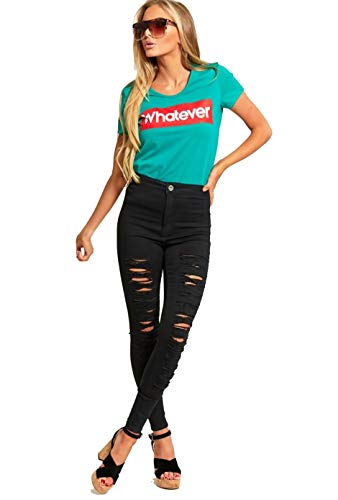 Womens Ripped High Waist Jeans Ladies High Rise Black Denims Distressed Jeans UK Sizes 6-14 (8, Black (547))