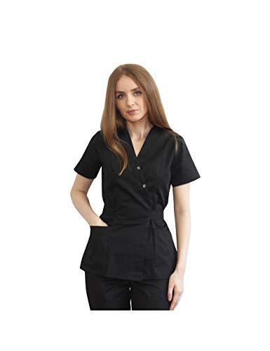 Doctor in uniforma - Casaca Mujer Sanitarios Uniformes Medicos Clinicas Estética Médica Enfermería Estilo Kimono, Negro (XS)