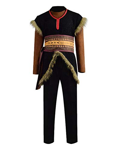 Zhangjianwangluokeji Mens Kristoff Cosplay Kostüm Halloween Full Set Outfits (XL, Schwarz)
