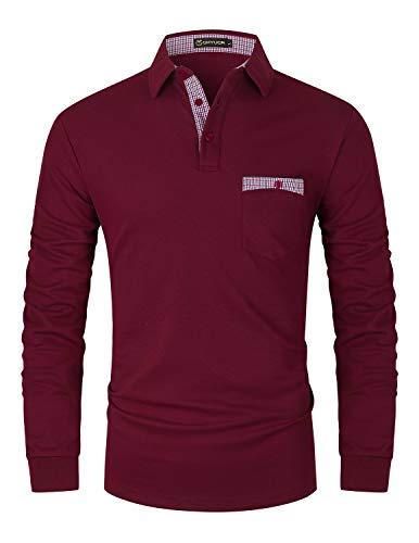 GHYUGR Polo Hombre Manga Larga Elegante Cuello a Cuadros Camiseta con Bolsillo Poloshirt Otoño Golf T-Shirt Trabajo Camisa,Rojo,L
