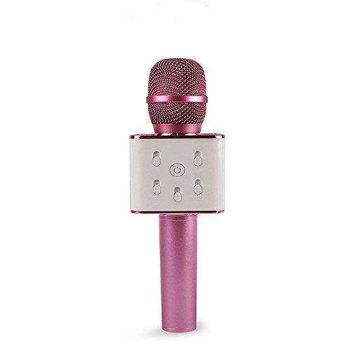 con Soporte para Android y iOS para KTV Hogar Fiesta SimpleLife Micr/ófono de Karaoke inal/ámbrico Canto y grabaci/ón Color Negro Altavoz con Bluetooth Pista de Sonido Envolvente Q7