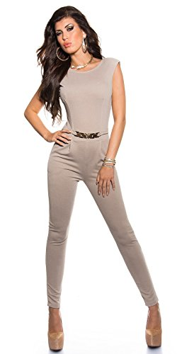 Eleganter KouCla Overall mit Goldschnalle in versch. Farben & Größen - Jumpsuit Rückenfrei (K6721) beige Gr. XL