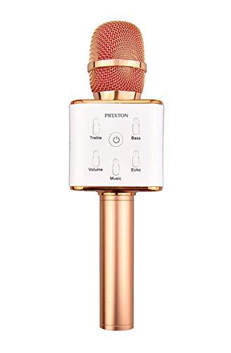 PRIXTON - Micrófono Inalámbrico Profesional, Funciona por Bluetooth y USB, Incluye 2 Altavoces y Función Karaoke, Color Rosa