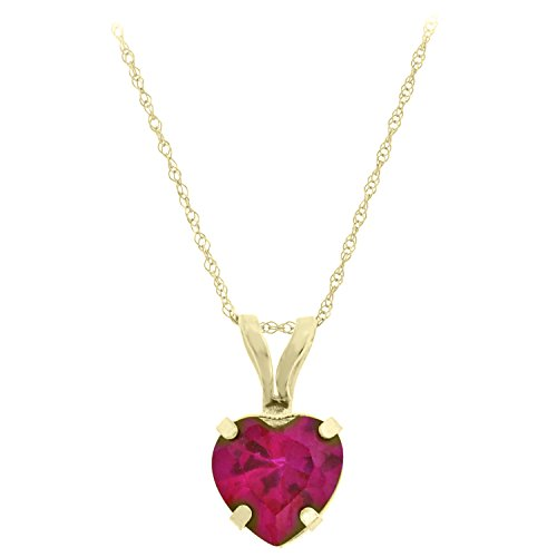 "10K Yellow Gold Heart-Shaped Created Ruby Pendant Necklace - 6mm - 18"" Gold Filled Chain"