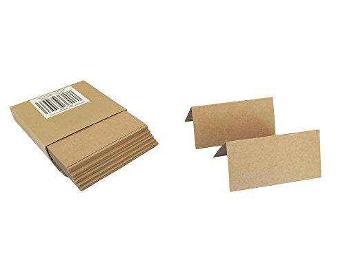 50 Tischkarten aus Naturkarton, 10 x 5 cm, 320 g/qm Kraftpapier, Platzkarten, Namenskarten, ideal für Hochzeiten, Geburtstage, Taufe, Familienfeiern, Trauerfeiern, Meetings, Präsentationen