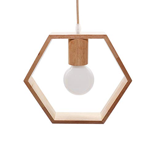 Artpad Nordic Wooden Hexagon Geometric Colgante Lights Single Head Hanging Comedor Bar Restaurant Lámpara de madera con 5w Bombilla blanca