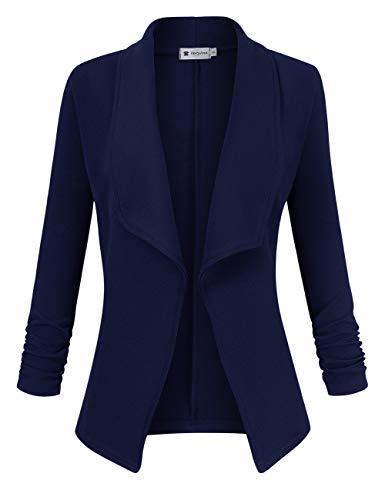 VeryAnn Women's 3/4 Sleeve Solid Blazer Open Front Cardigan Jacket for Work Office (Navy, Small)