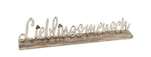 Posiwio dekorativer Schriftzug LIEBLINGSMENSCH aus Holz und silberfarbigem Aluminium