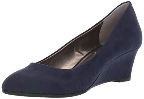 Bandolino Womens Fayola Wedge Heel Navy Suede 10 M