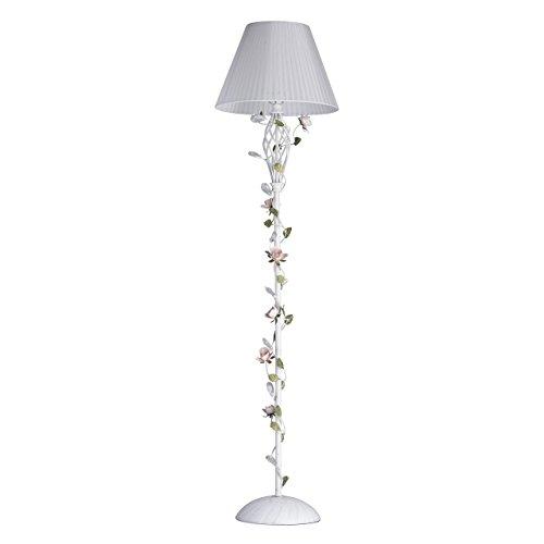 MW-Light 421044901 Stehlampe Florentiner Weiß Metall Textilschirm Grün Keramik Blumen Blätter mit Kristall 1 Flammig E27 x 40W