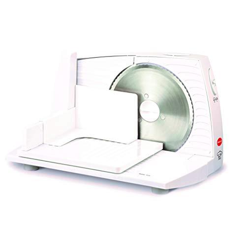 eldom KR100 - Affettatrice elettrica per fiambre, 100 W, lame in acciaio inox, sistema di protezione delle mani, sistema extra sottile di taglio per salumi