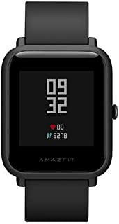 "AMAZFIT Bip Glonass GPS Heart Rate Sport Fitness Tracker Watch 1.28"" Screen 32g Ultra-Light IP68 Waterproof 45day Standby (Black)"