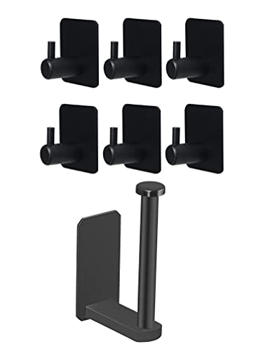 VAEHOLD Toilet Paper Holder and 6 Pack Adhesive Hooks