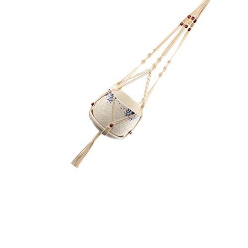 Handgemaakte Bohemian gevlochten witte Macrame Plant Hanger opknoping touw, huis muur pannenlappen opknoping mand tuin huisdecoratie