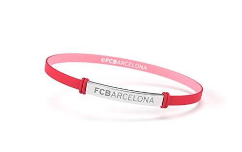 Fútbol Club Barcelona Braccialetto Fashion rosso corallo Junior per donna e bambino | Braccialetto Barça in silicone e acciaio inox | supporta il FC Barcellona con un prodotto ufficiale del club | FCB