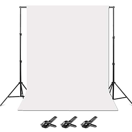 Folong Photo Backdrop Stand,8 x 10ft Video Photography Backdrops Stand and White Photo Backdrop,Adjustable Photo Backdrop Stand Kit Support System with Carry Bag and 3 Clamps