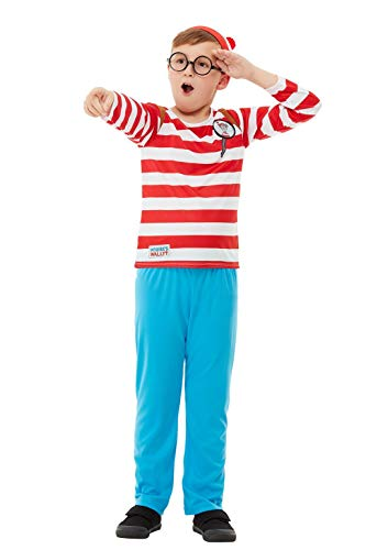 Smiffys 50279L - Disfraz oficial de ¿Dónde está Wally?, para niños