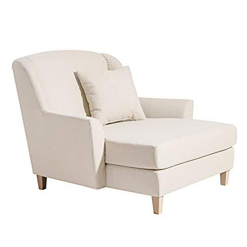 Max Winzer Big-Sessel inklusive 1x Zierkissen 55x55 cm Judith Flachgewebe (Leinenoptik) Creme