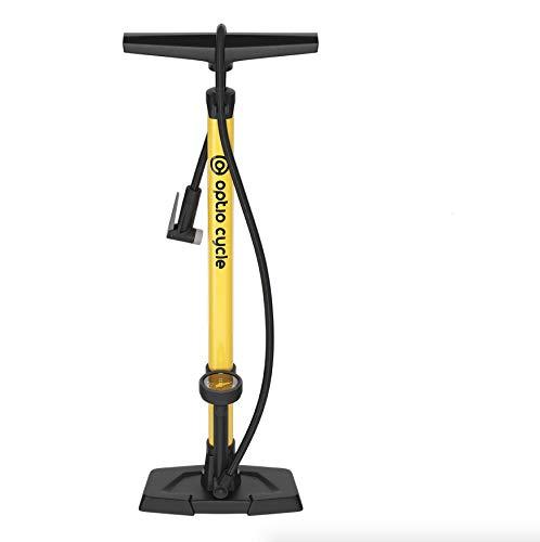 Optio Cycle Standpumpe Fahrradpumpe mit Manometer Display und Adaptern Standluftpumpe Luftpumpe für Sclaverandventil/Presta Ventil/Französisches Ventil (SV) und Schraderventil/Autoventil (AV)