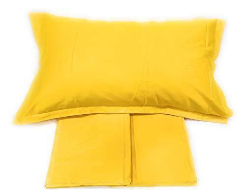 Fazzini Bettwäsche-Set für Doppelbett aus reiner Baumwolle, Fadenzahl 300, seidig, Art. Top Qualität (Sonnengelb 267)
