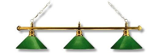 Billardlampe Messing Grün - 3-flammig