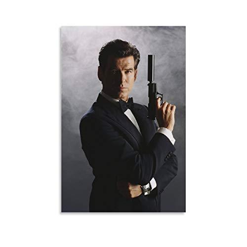Stampa artistica su tela di Pierce Brosnan As Ian Fleming's James Bond 007 - Stampa artistica su tela con stampa moderna per camera da letto, 40 x 60 cm