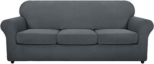 XDKS - Copridivano elasticizzato con braccioli, super elasticizzato, antiscivolo, per soggiorno, cani e animali domestici, 3 posti, colore: grigio scuro
