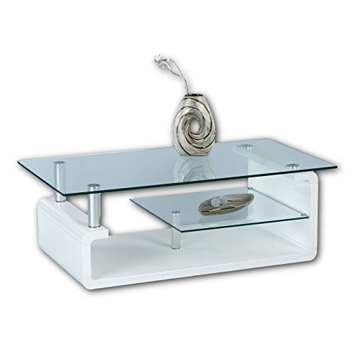 Stella Trading TRITON Couchtisch Glas in Hochglanz weiß - geräumiger Glastisch mit Glasblage für Ihren Wohnbereich - 120 x 40 x 65 cm (B/H/T)