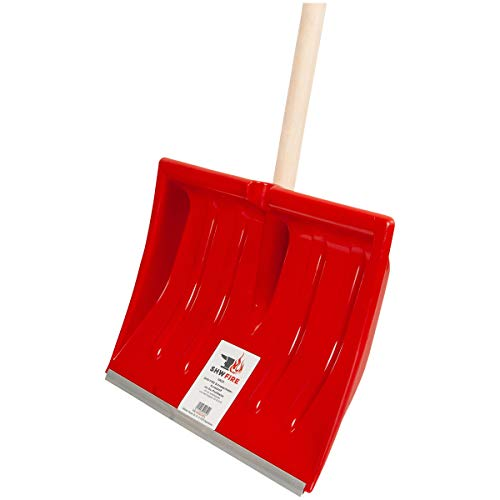 SHW-FIRE 59025 Schneeschieber Schneeschaufel Kunststoffblatt 40 cm schmal mit rundem Stiel Holz 130 cm lang