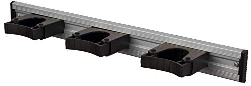 Toolflex Aluminiumschiene 50 cm mit 3 schwarzen Haltern für Stieldurchmesser 25-35 mm
