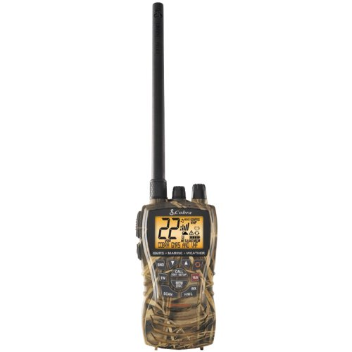 Cobra MR HH450 CAMO Handheld Floating VHF Radio – 6 Watt, All-Terrain, Submersible, Noise Cancelling Mic, Backlit LCD Display, Memory Scan, Camo