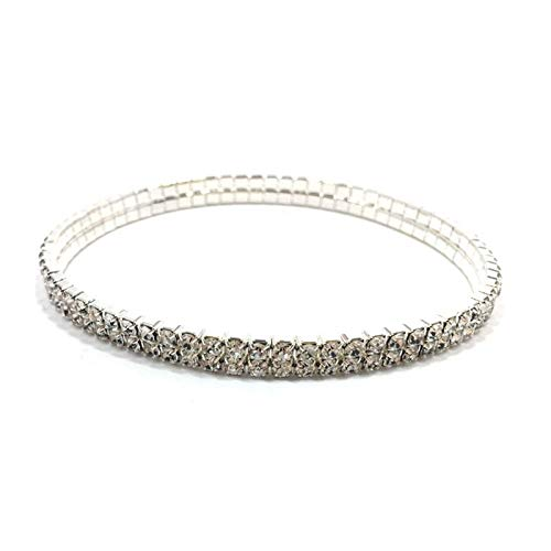 XPWOZ Ladies crystal anklet foot jewelry (Color : 2 Rows Silver)