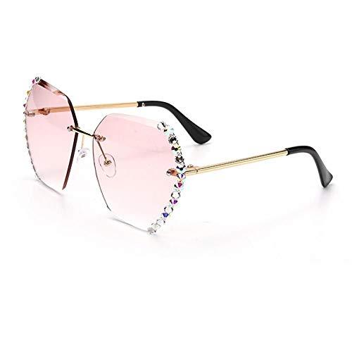 ZZOW Gafas de sol sin montura de cristal para mujer, sin marco, gradual, hexagonales