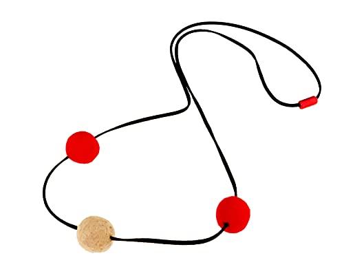 Cordón de piel largo de 120 cm, color rojo y beige
