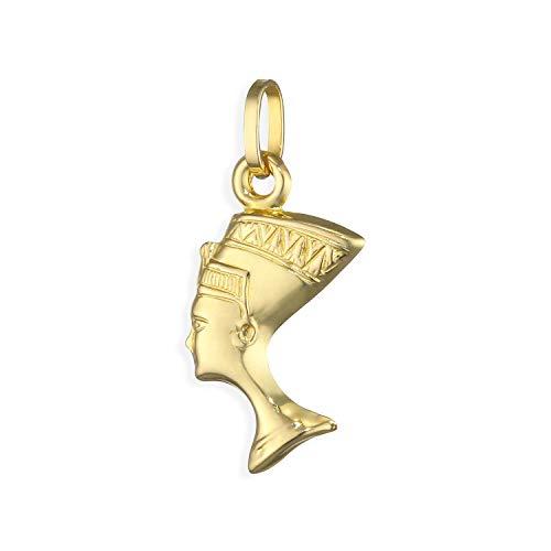 Nofretete Charms Anhänger beidseitig 3D 14 Karat Gold 585 (Art.212122)